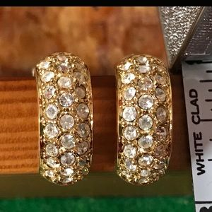 Gold Toned Clip on Swarovski Crystal Earrings 3/4""